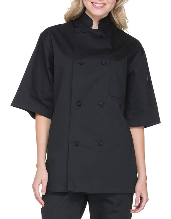 Classic Knot Button Short Sleeve Chef Coat - Black (BLK)