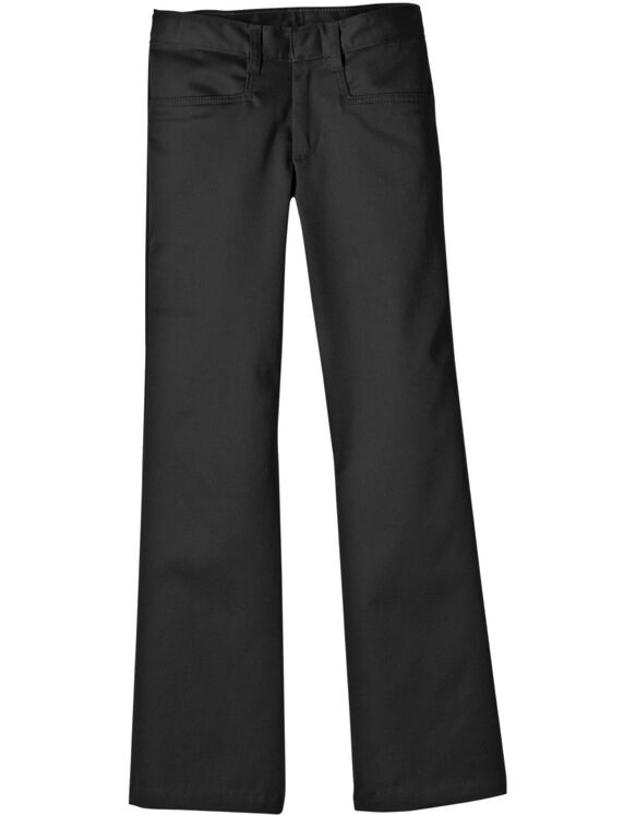 Juniors' Schoolwear Classic Fit Bootcut Leg Stretch Twill Pants - Black (BK)