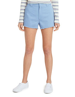 "Dickies Girl Juniors' High Rise Fray Hem  2.5"" Workers' Shorts - CHAMBRAY LIGHT BLUE (CLB)"
