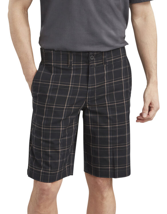 "Dickies X-Series 11"" Active Waist Washed Yarn Dyed Shorts - Rinsed Black Plaid (RBKP)"