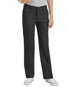 Girls' FlexWaist® Slim Fit Straight Leg Flat Front Pants, 4-16 - Black (BK)