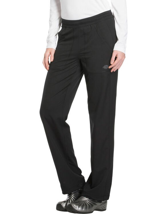 Women's Dynamix Mid Rise Straight Leg Pull-On Scrub Pants - Black (BLK)