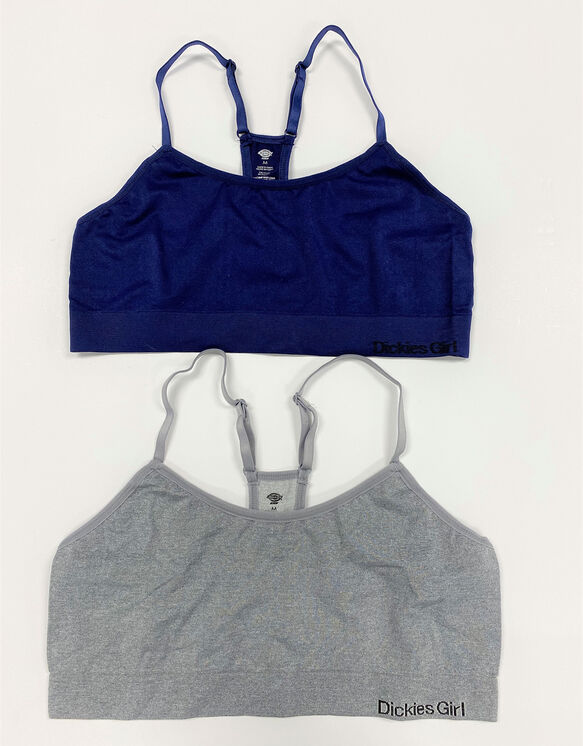 Dickies Girl Juniors' Seamless Bralettes, 2-Pack - Heather Gray (HG)