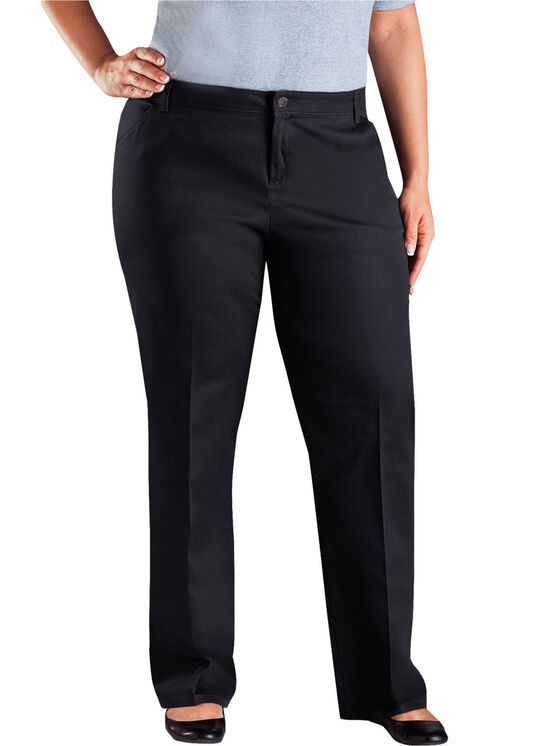 Genuine Dickies Women's Relaxed Straight Stretch Twill Pants - Plus - Black (BK)