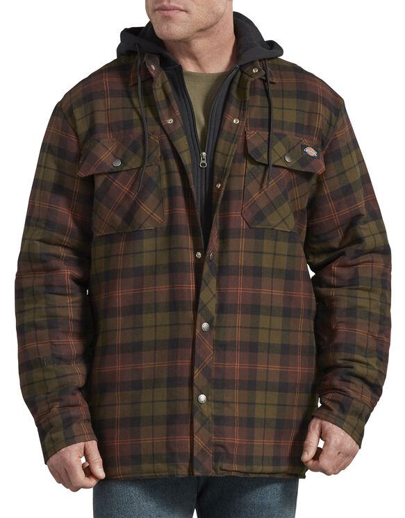 Relaxed Fit Icon Hooded Quilted Shirt Jacket - Chocolate Tactical Green Plaid (POC)