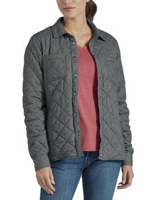 Women's Plus Quilted Shirt Jacket - Gray Two Tone Herringbone (ATH)