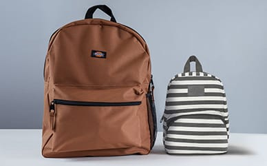 Two backpacks displayed