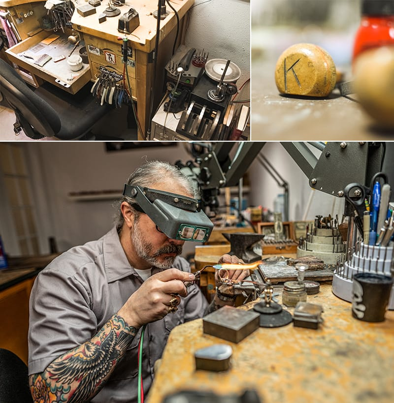 Branden is surrounded by the tools of his trade, where small sizes demand detailed work, concentration and steady hands.