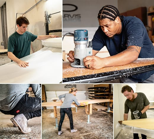 Daily activities at Jarvis Boards include everything from handling routers to staining and masking for painting. Comfortable tees for men and women a plus.