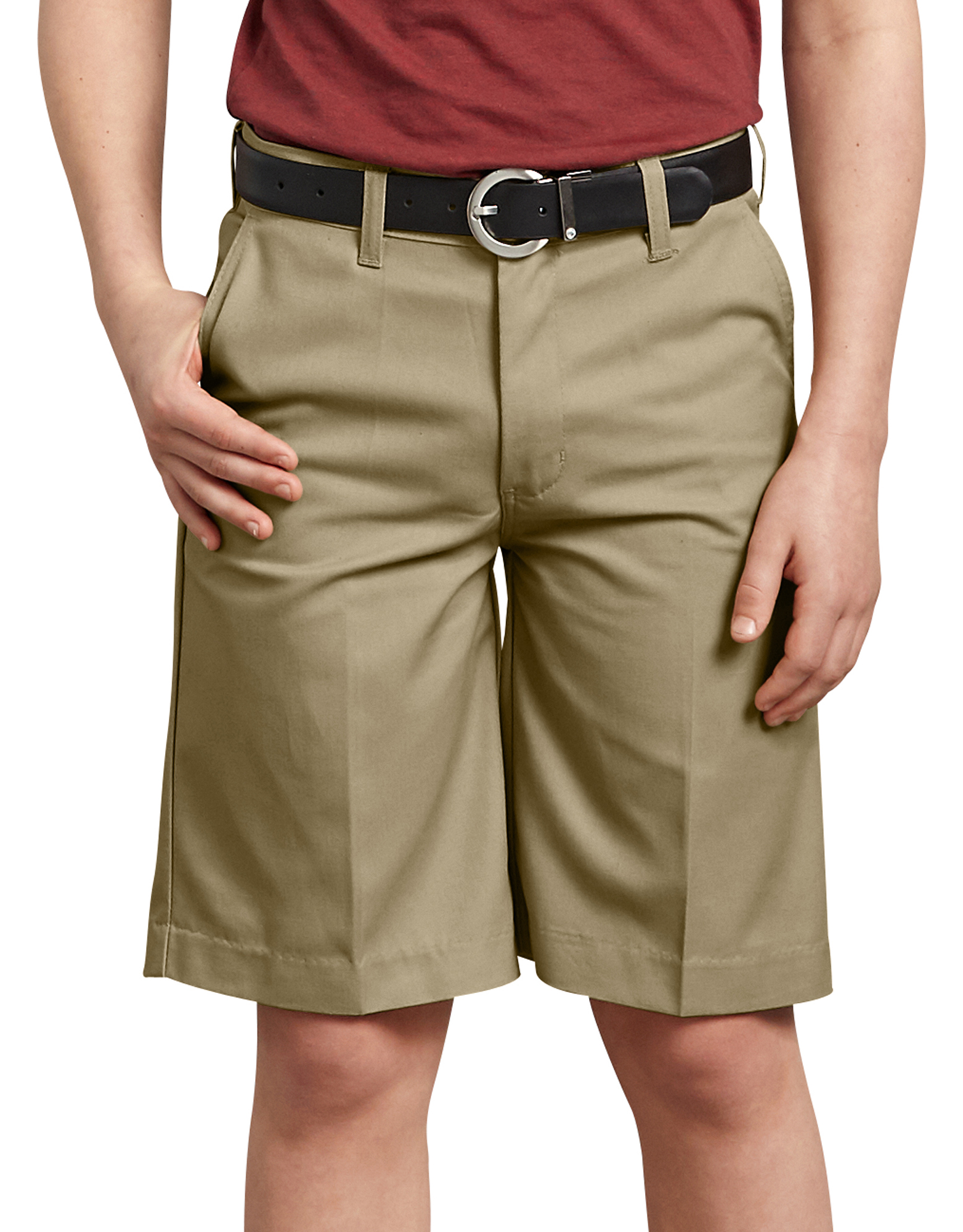 Boys' FlexWaist® Flat Front Shorts, 4-7 - Military Khaki (KH)