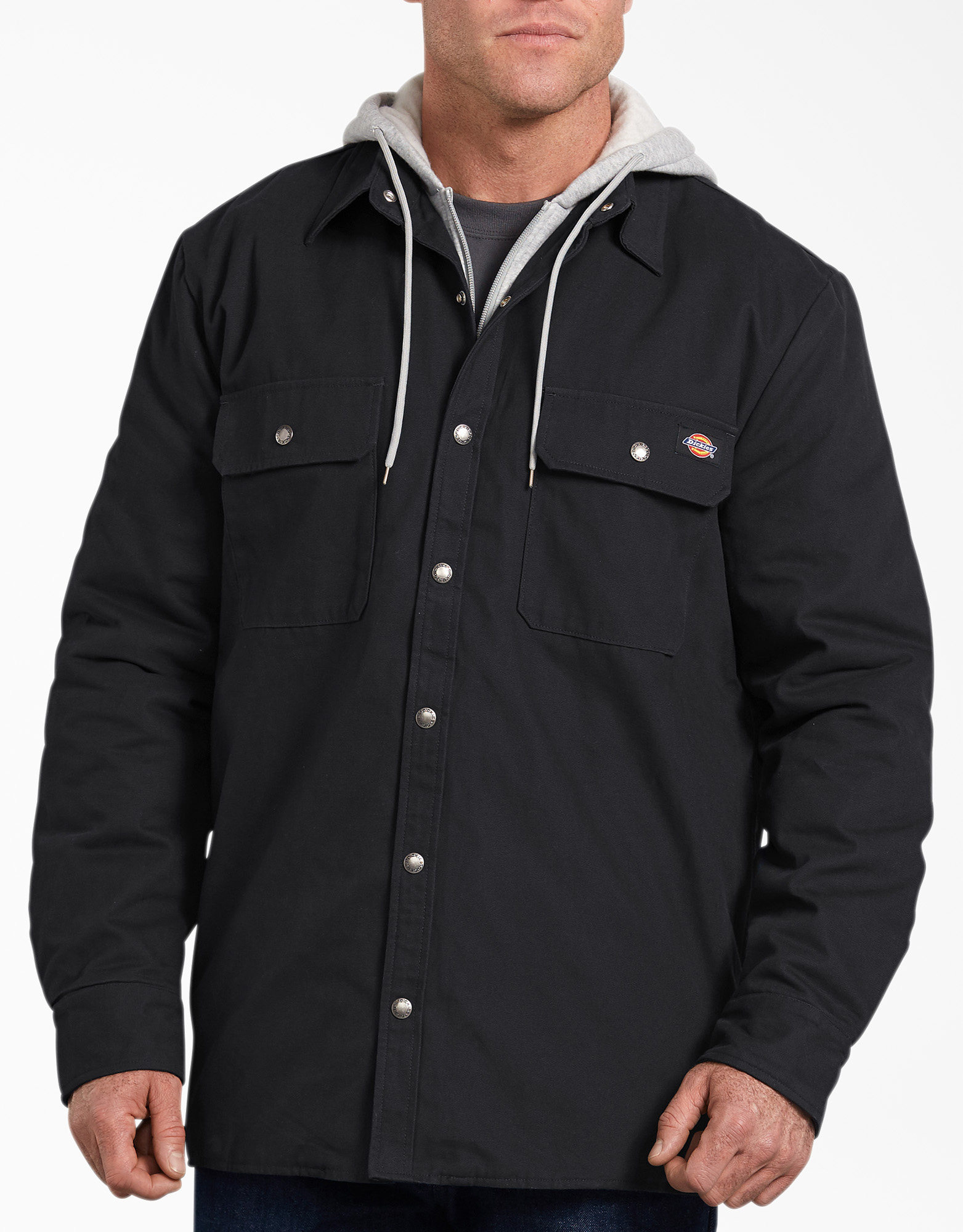 Relaxed Fit Icon Hooded Duck Quilted Shirt Jacket - Black (BK)
