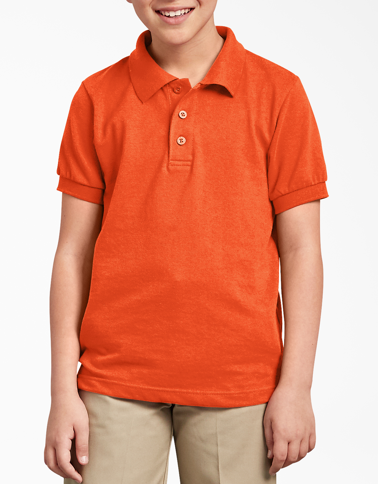Kids' Short Sleeve Pique Polo Shirt, 8-20 - Orange (OR)