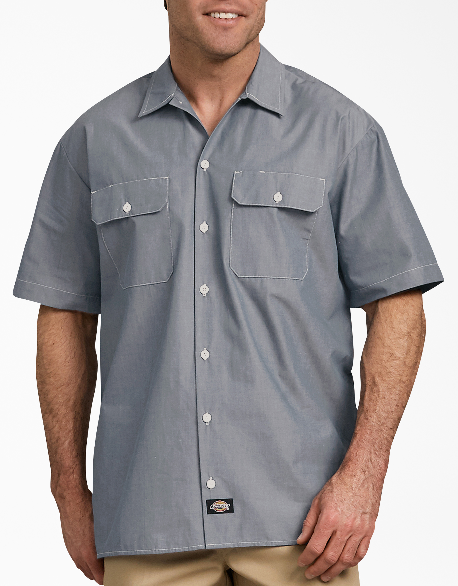 Relaxed Fit Short Sleeve Chambray Shirt - Navy Chambray (NVC)