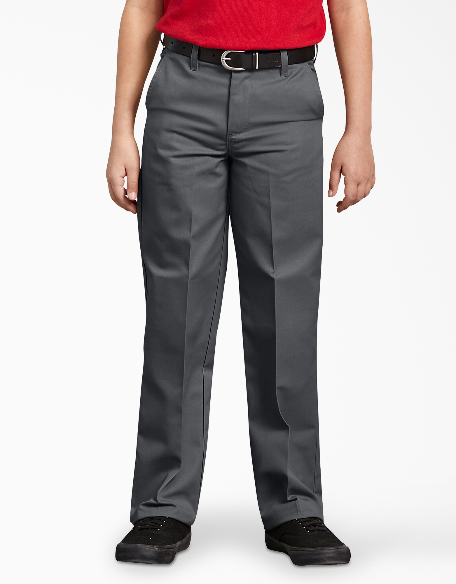Boys' Classic Fit Straight Leg Flat Front Pants, 8-20 Husky - Charcoal Gray (CH)