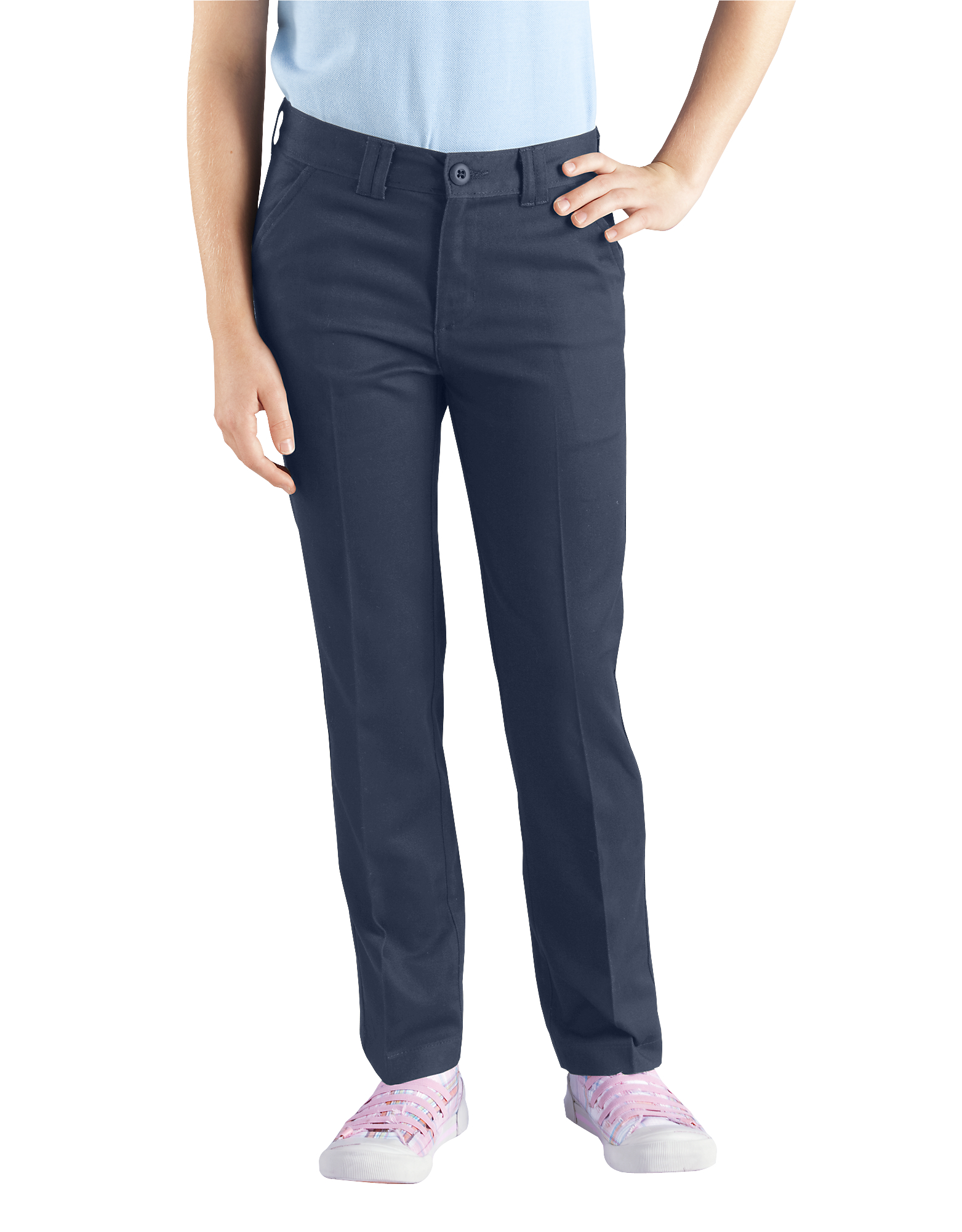 Girls' Skinny Fit Straight Leg Stretch Twill Pants, 7-20 - Dark Navy (DN)