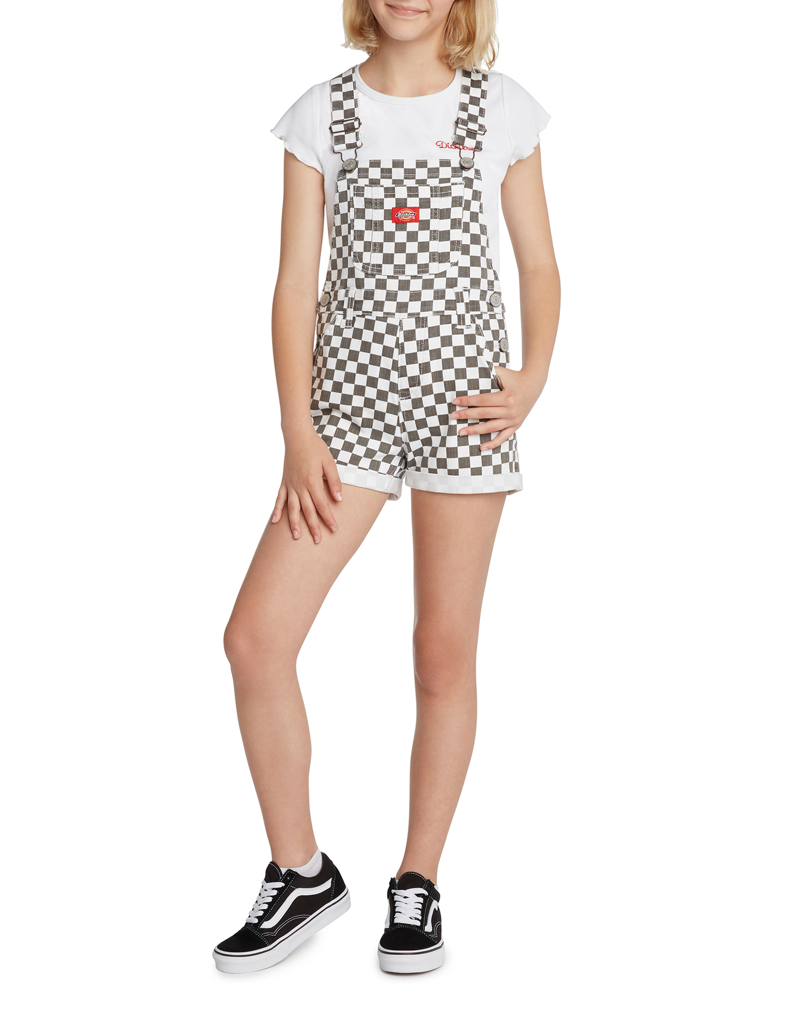 Girls' Rolled Hem Checkered Shortalls - Black White Checkered (CBW)