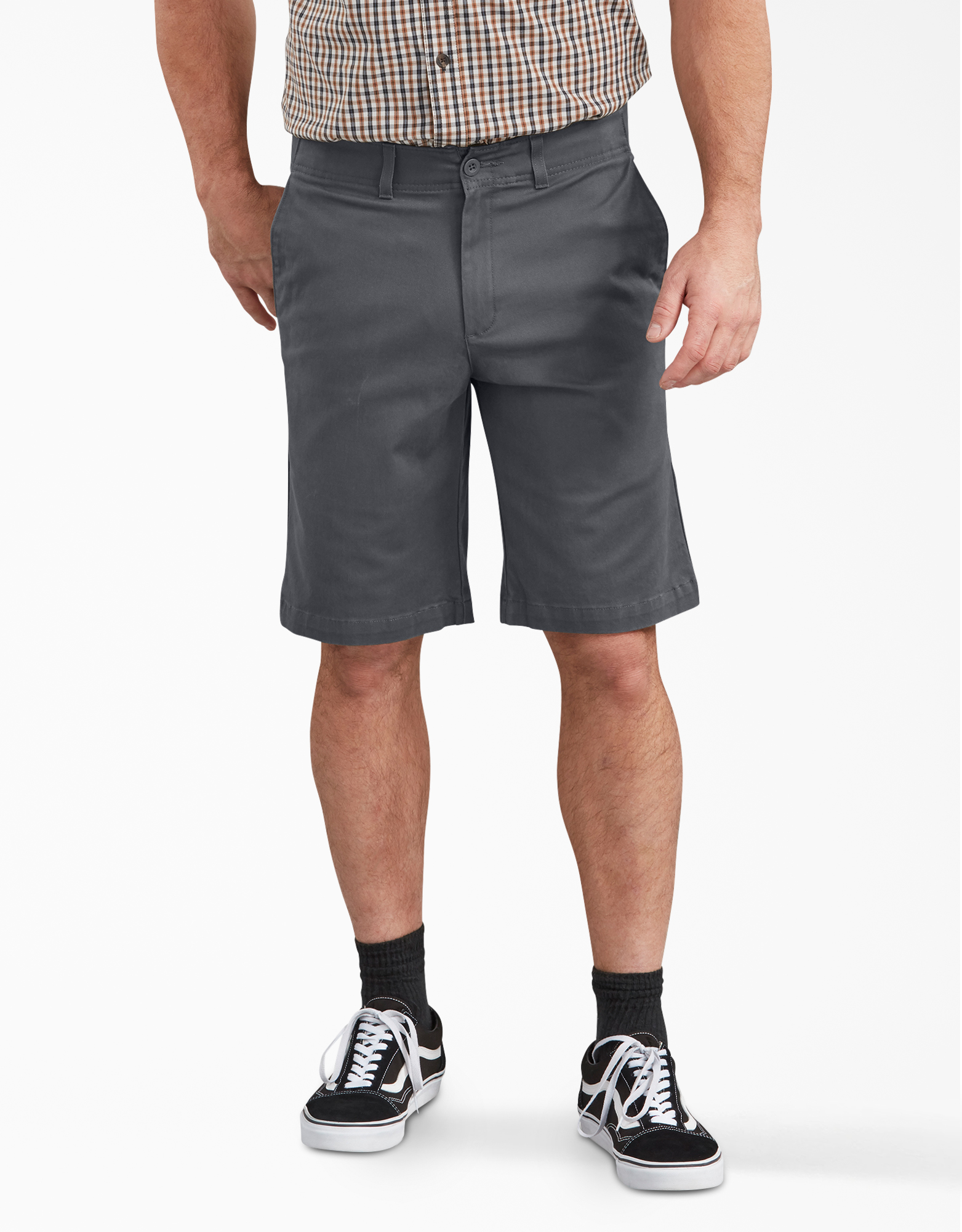 "Dickies X-Series FLEX 11"" Active Waist Washed Chino Shorts - Rinsed Charcoal Gray (RCH)"