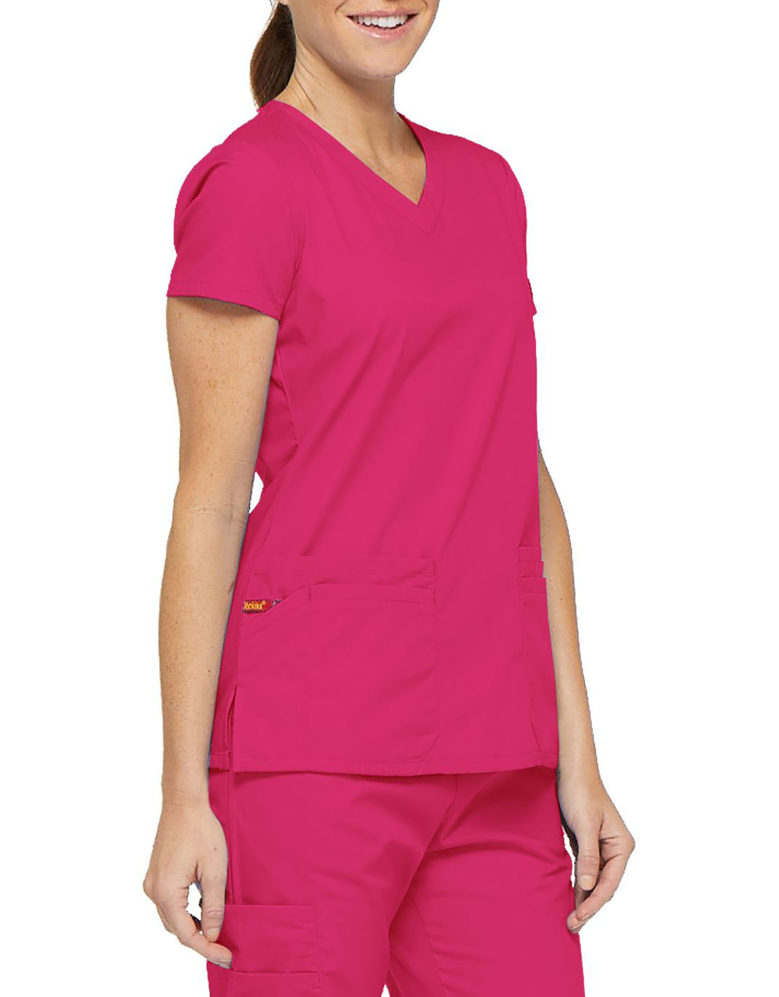 Women's EDS Signature V-Neck Scrub Top with Pen Slot - Hot Pink (HPK)