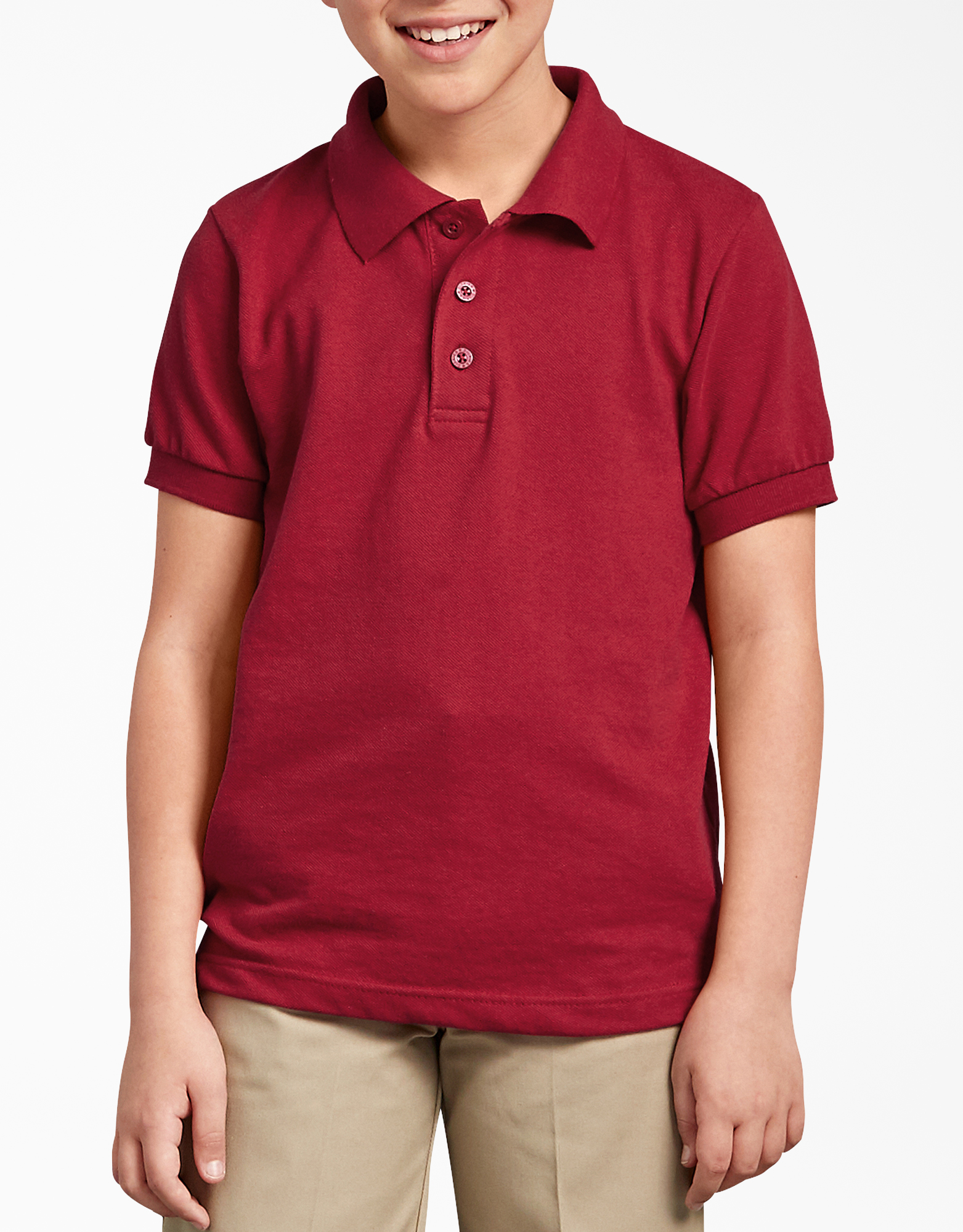 Kids' Short Sleeve Pique Polo Shirt, 8-20 - English Red (ER)