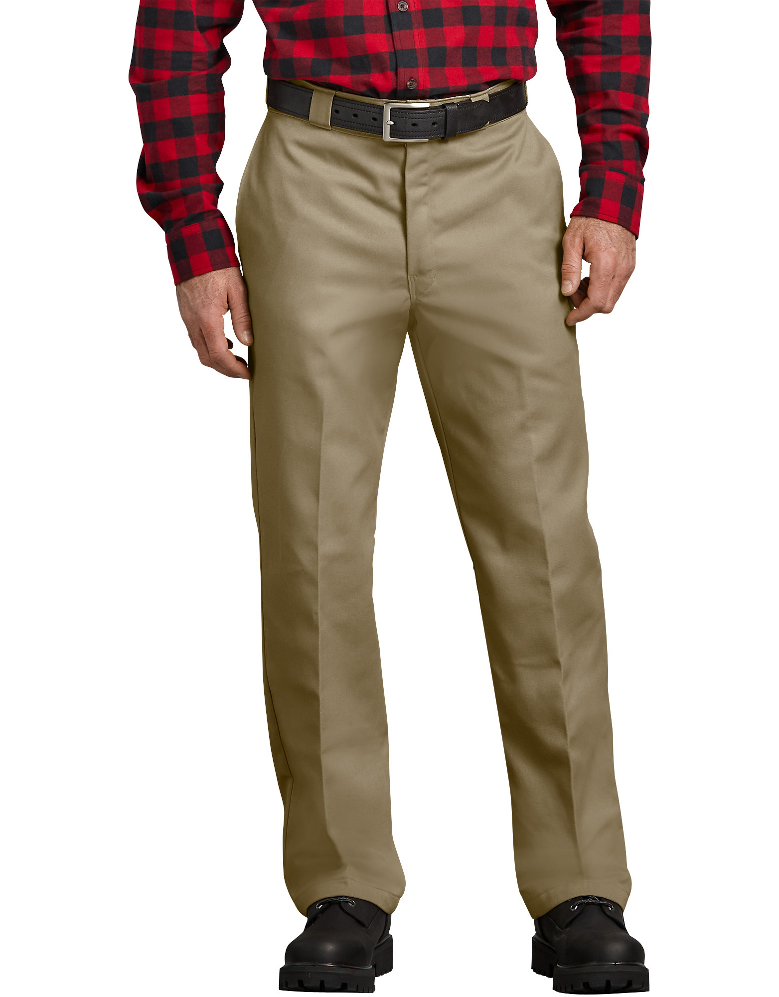 Relaxed Fit Flannel Lined Work Pants - Military Khaki (KH)