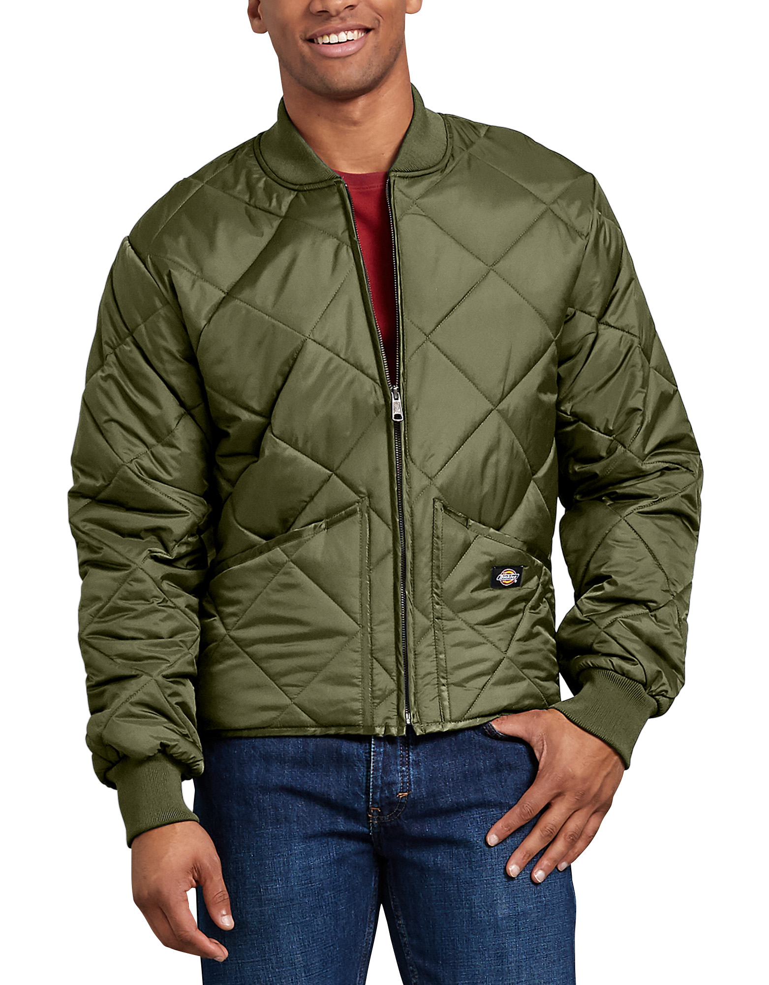 Diamond Quilted Nylon Jacket - Olive Branch (VC)
