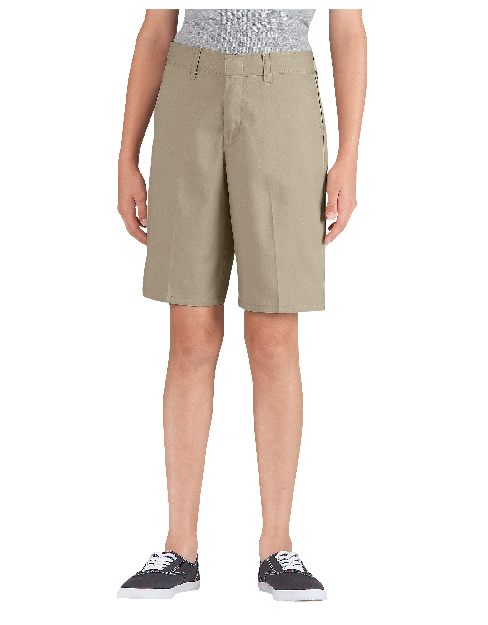 9f7fa215a Genuine Dickies Girls' Classic Traditional Flat Front Shorts - Military  Khaki (KH)