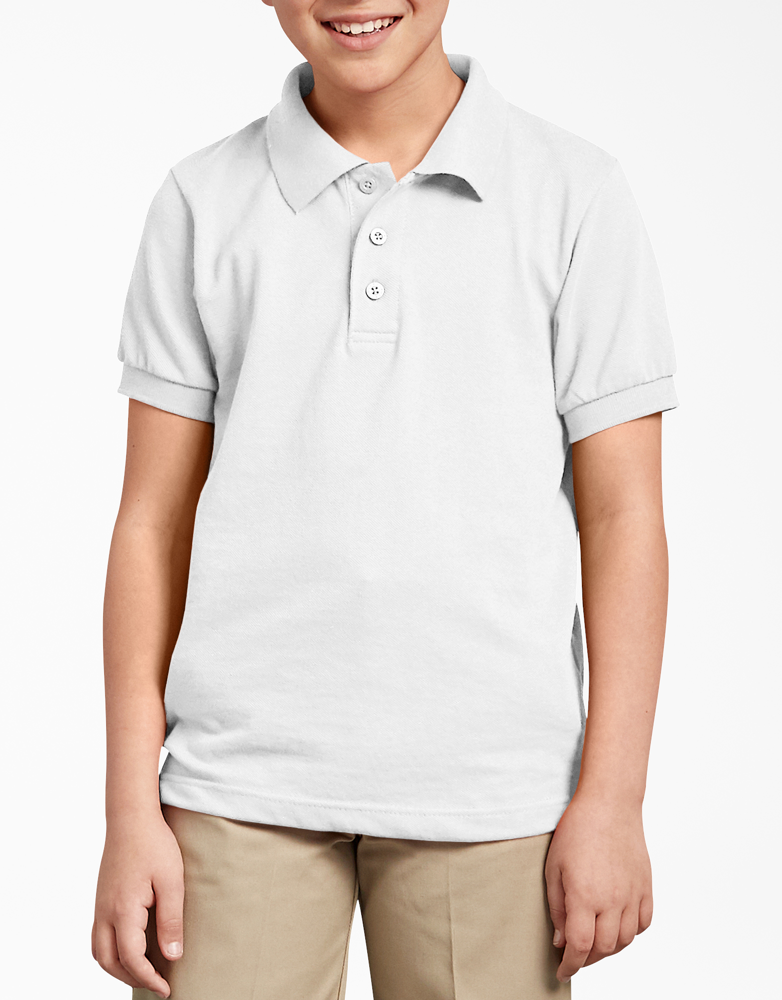 Kids' Short Sleeve Pique Polo Shirt, 4-20 - White (WH)