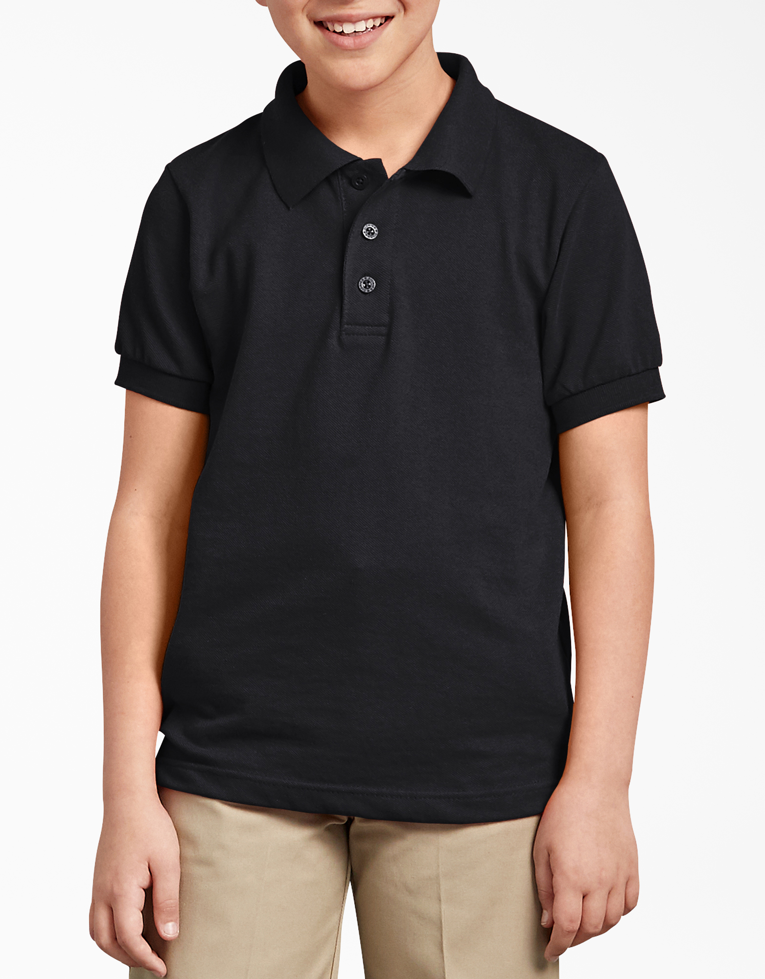Kids' Short Sleeve Pique Polo Shirt, 4-20 - Black (BK)