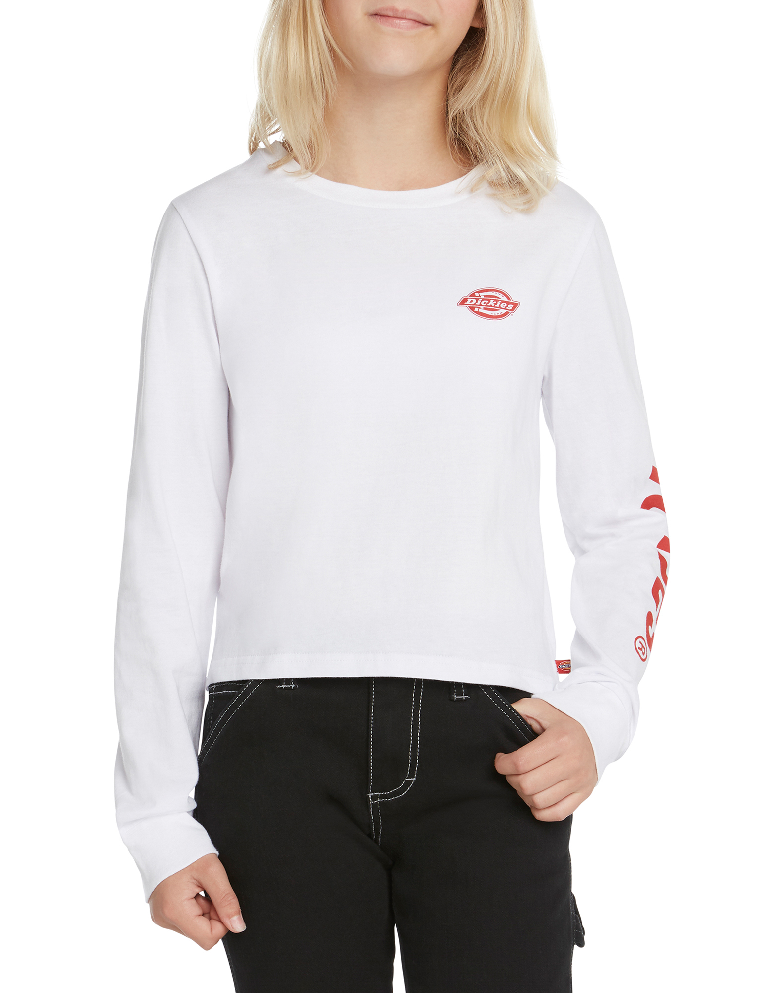 Girls' Long Sleeve Cropped Logo T-Shirt - White (WH)