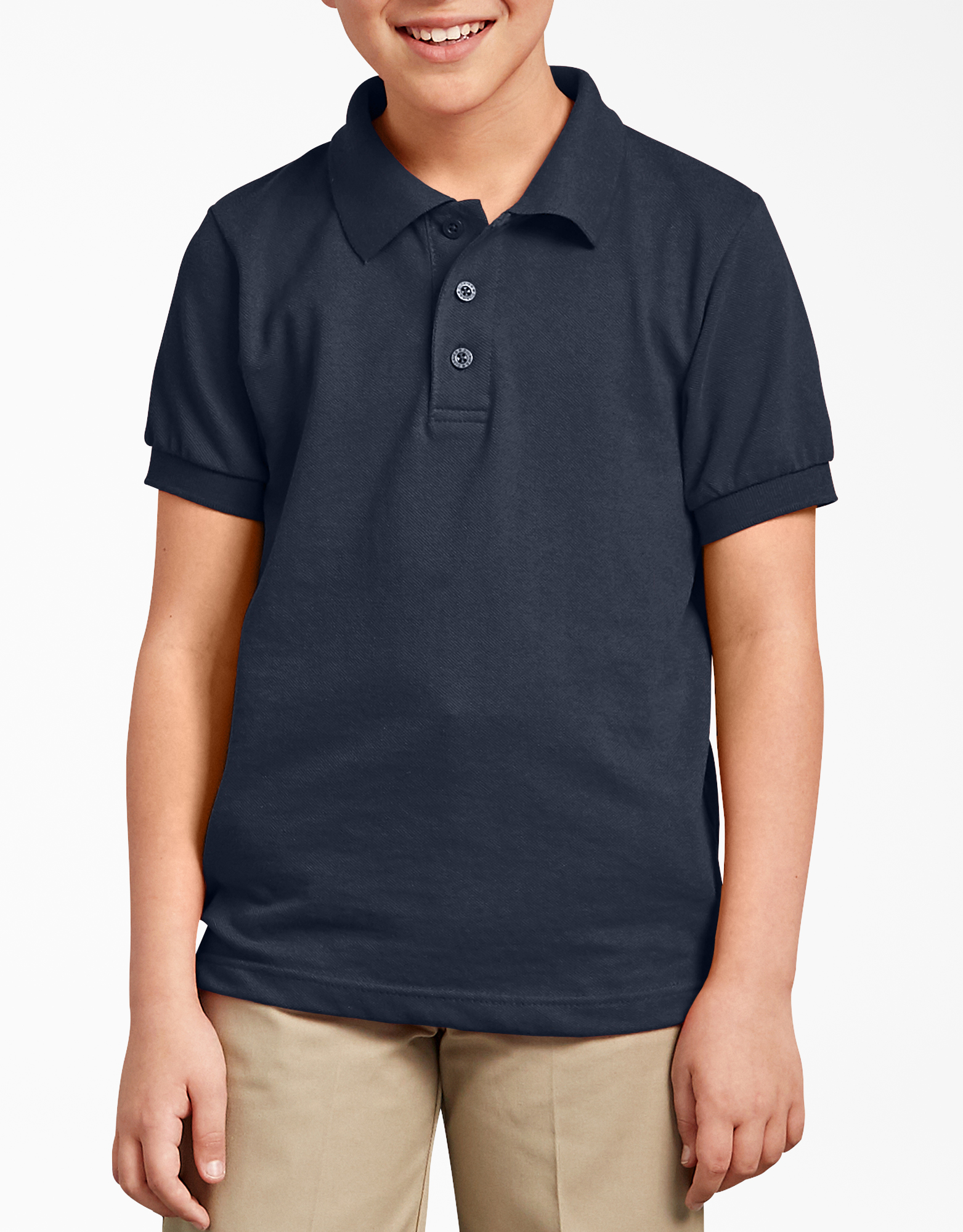 Kids' Short Sleeve Pique Polo Shirt, 8-20 - Dark Navy (DN)
