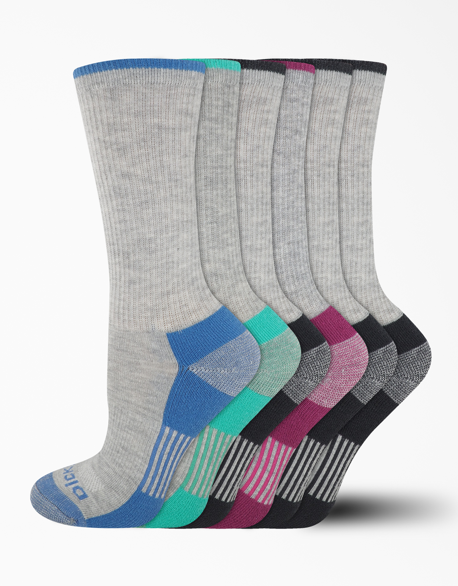Women's Dri-Tech Crew Socks, 6-Pack, Size 6-9 - Gray (GY)