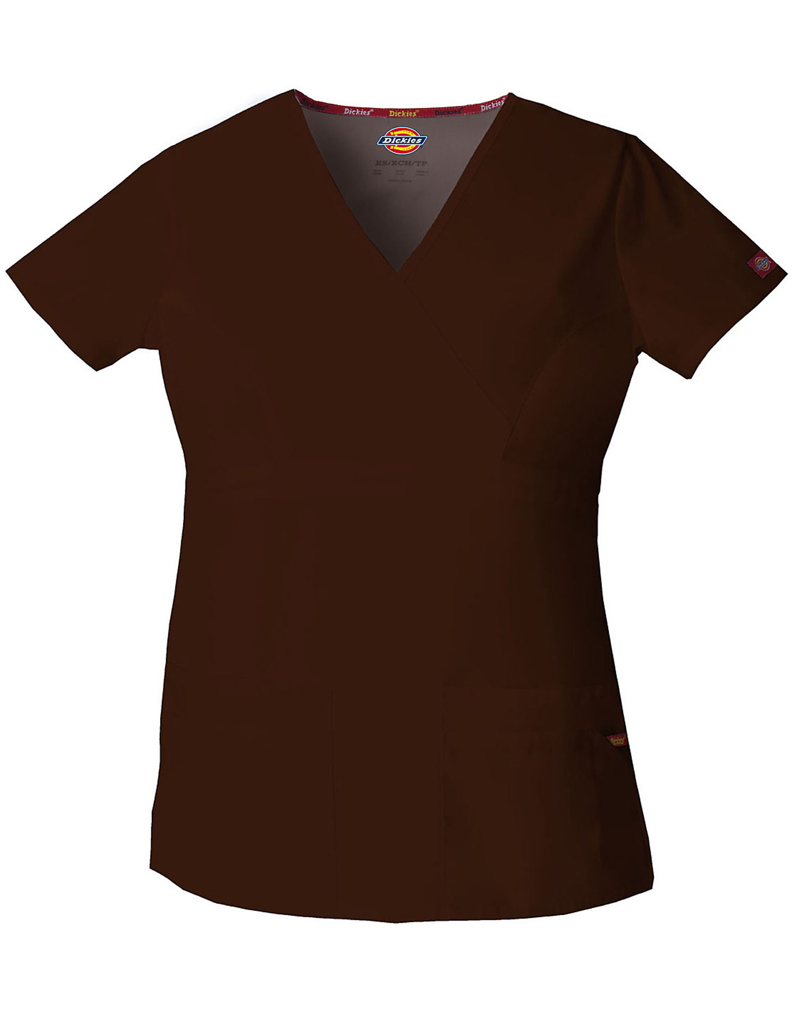 Women's EDS Signature Contemporary Fit Mock Wrap Scrub Top - Dark Brown (CHC)
