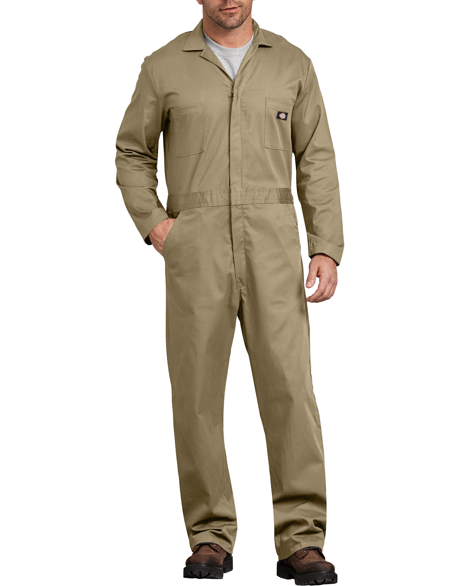 Cotton Long Sleeve Coveralls - Military Khaki (KH)