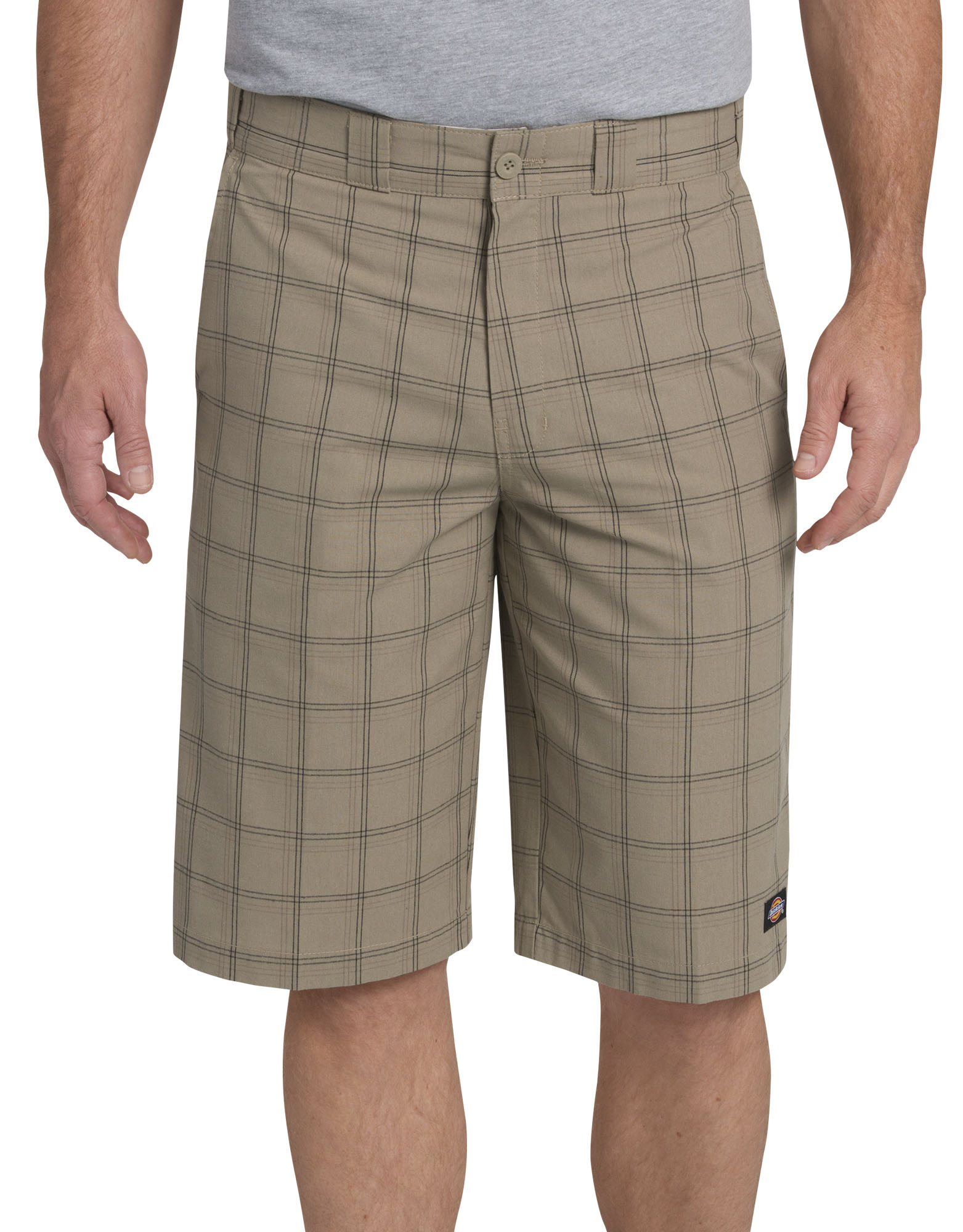"13"" Regular Fit Multi-Use Pocket Plaid Shorts - Desert Khaki Brown Plaid (ENP)"