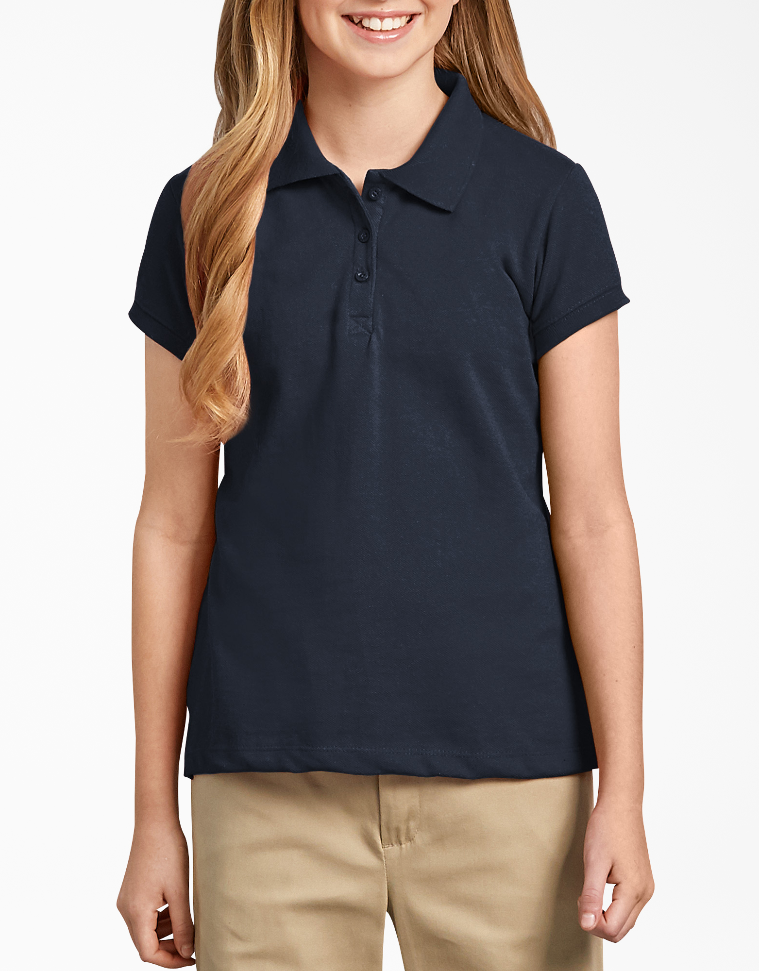 Girls' Short Sleeve Pique Polo Shirt,  7-20 - Dark Navy (DN)