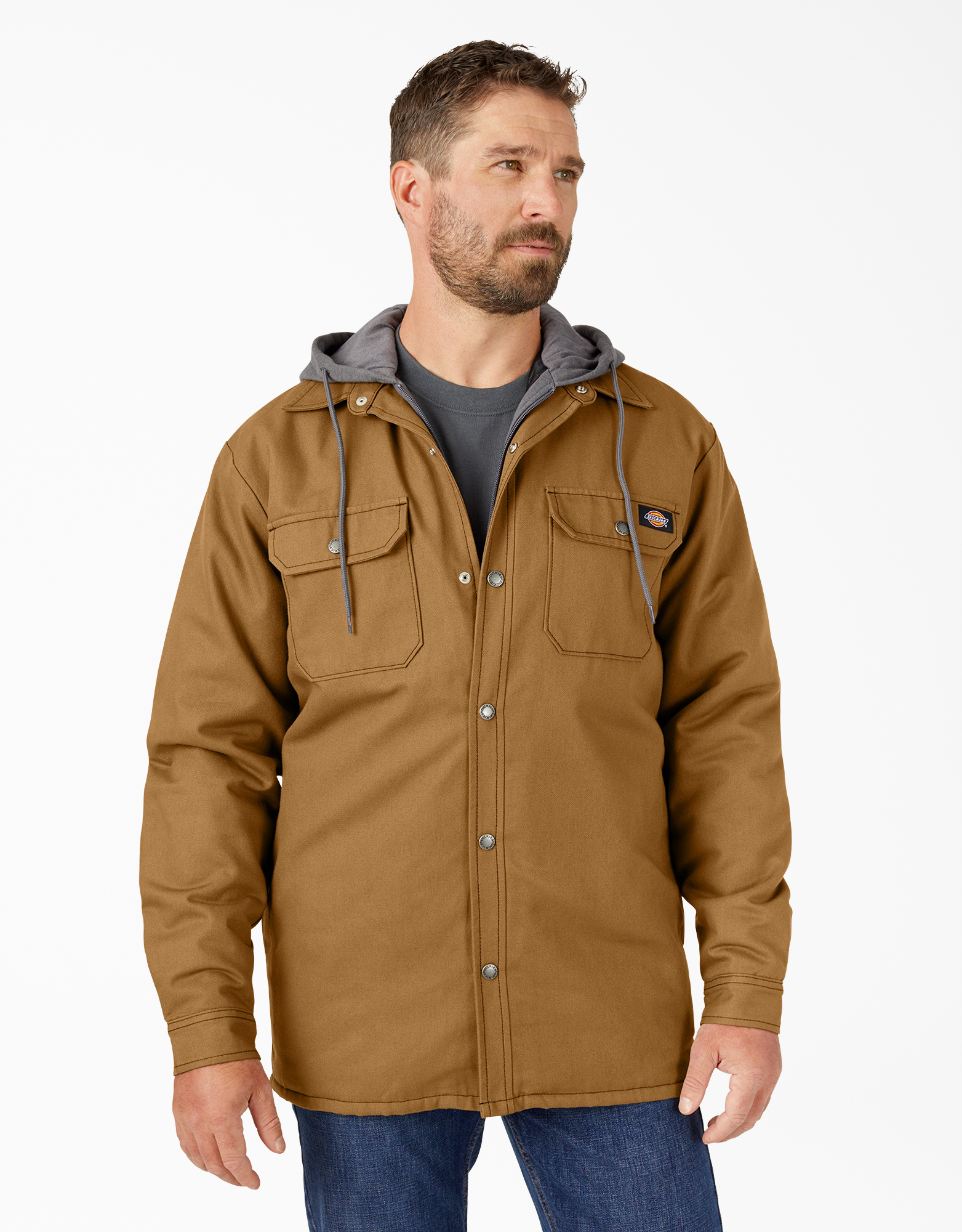 Fleece Hooded Duck Shirt Jacket with Hydroshield - Brown Duck (BD)
