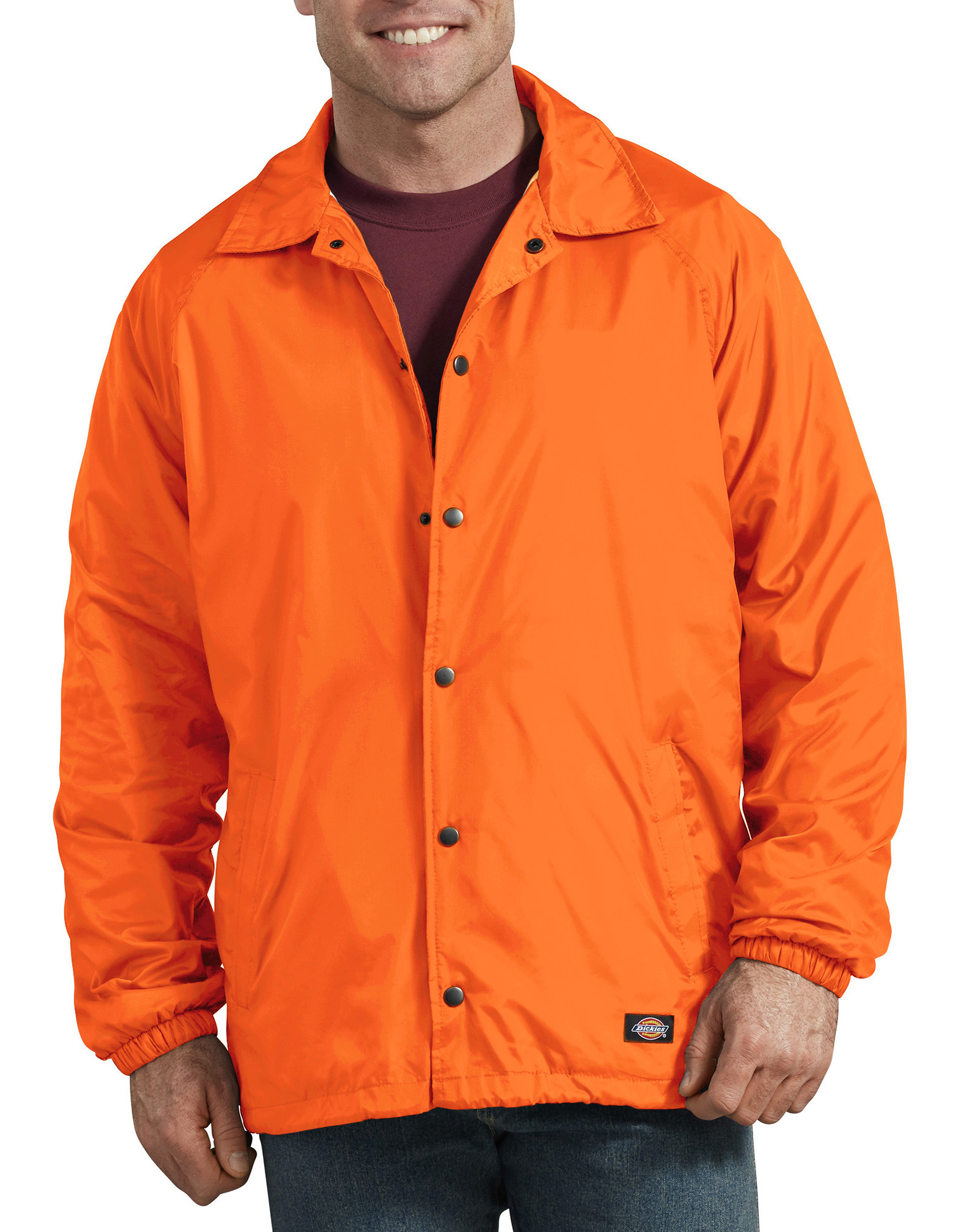 Snap Front Nylon Jacket - Orange (OR)