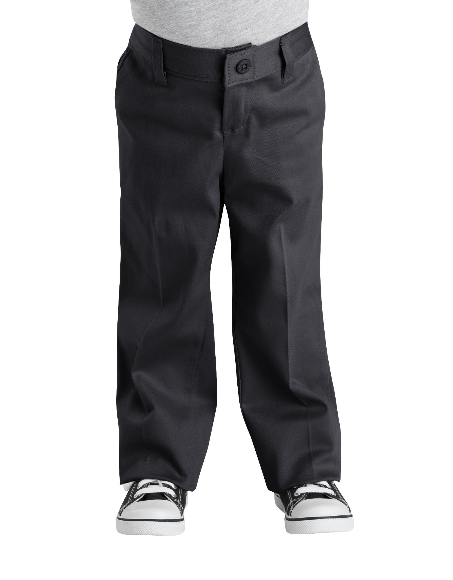 Girls' Classic Fit Straight Leg Stretch Twill Pants, 4-6 - Black (BK)