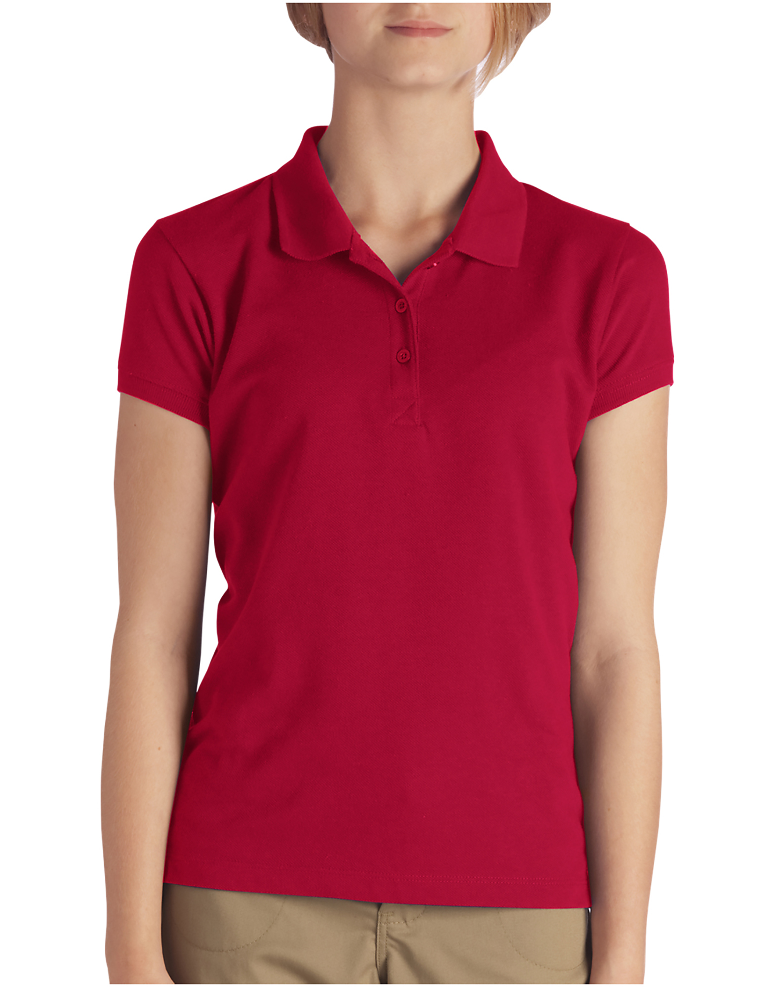 Girls' Short Sleeve Pique Polo Shirt, 4-6 - English Red (ER)