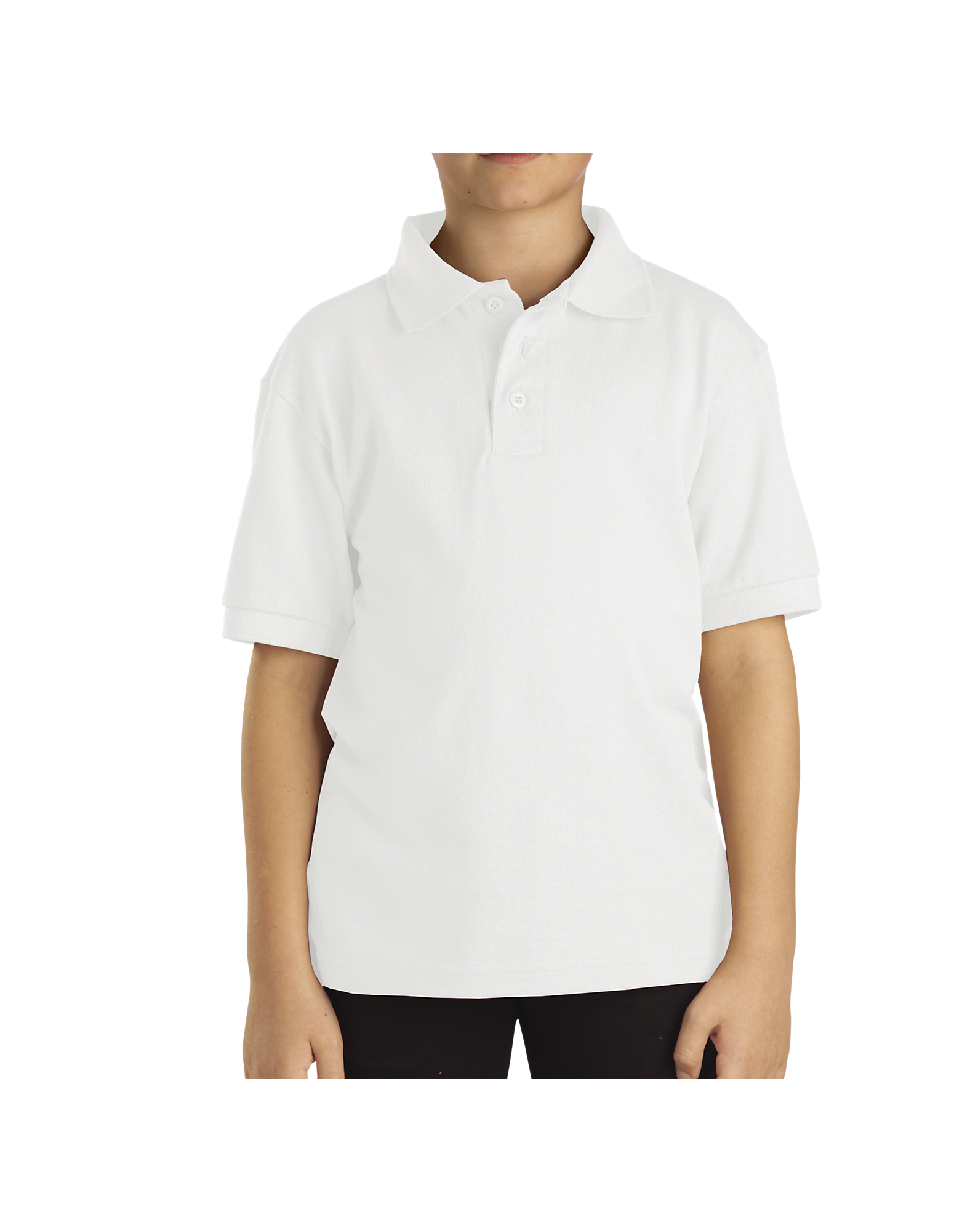 Kids' Short Sleeve Pique Polo Shirt, 4-7 - White (WH)