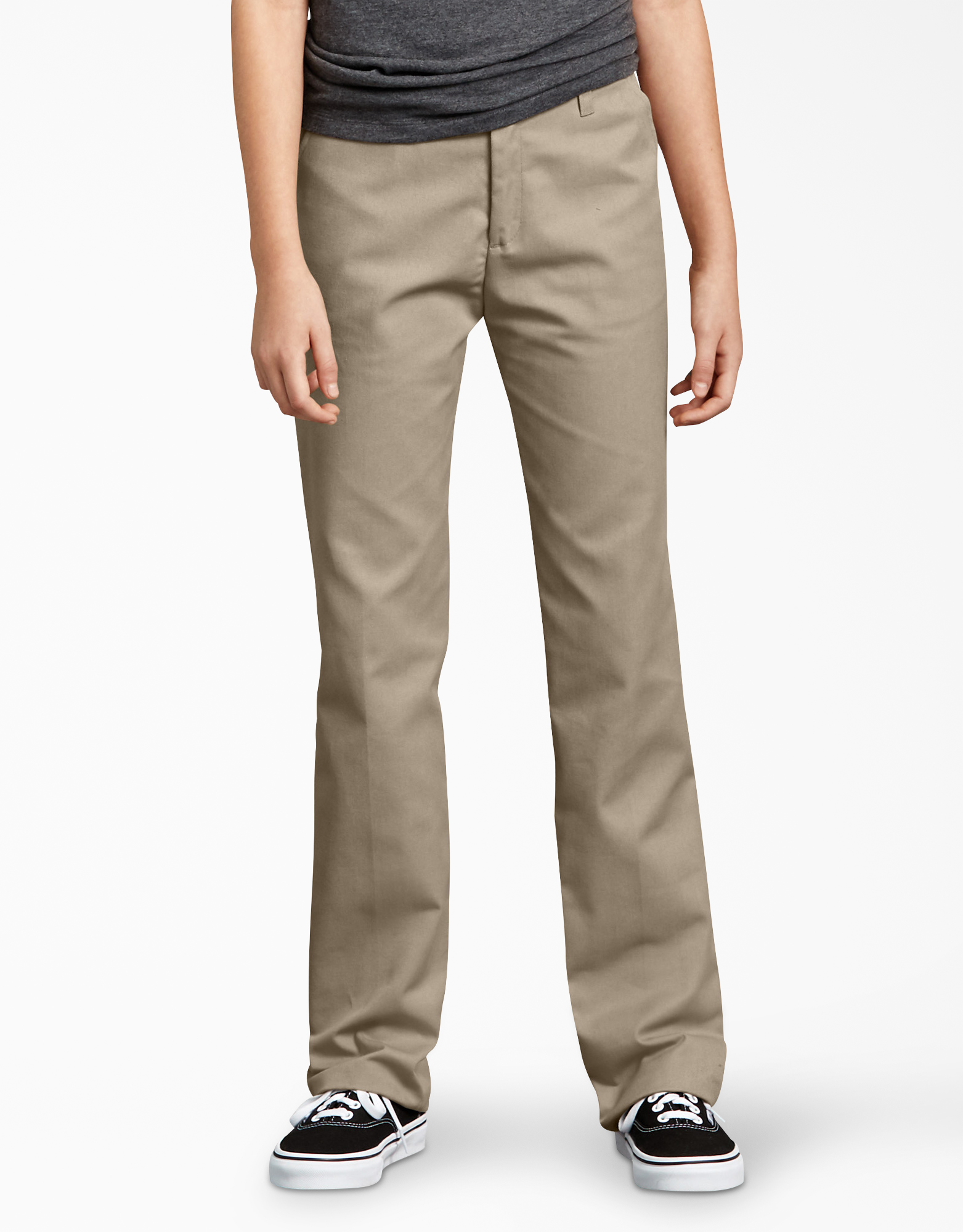 Girls' FlexWaist® Slim Fit Straight Leg Flat Front Pants, 4-16 - Desert Khaki (DS)