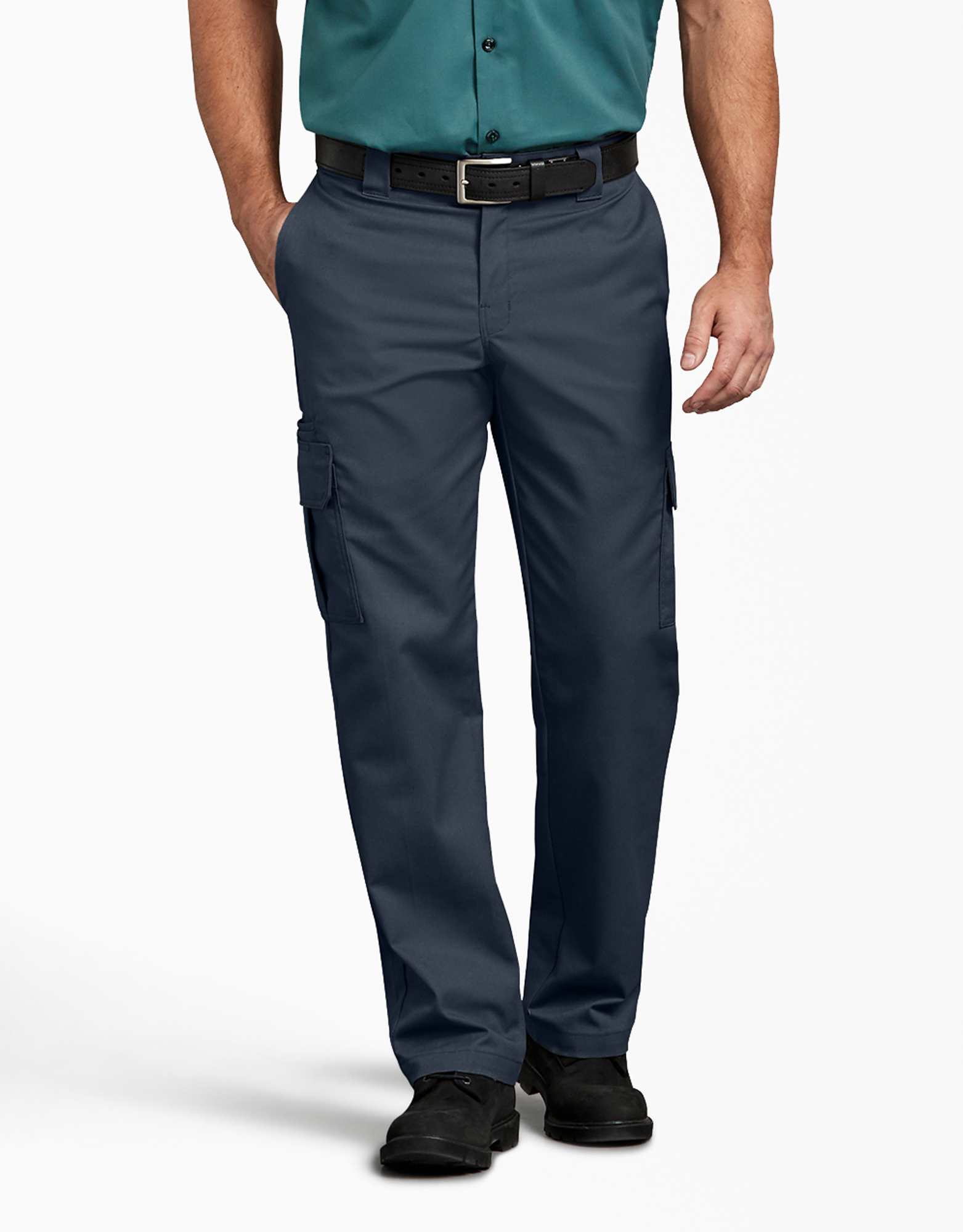 FLEX Regular Fit Straight Leg Cargo Pants - Dark Navy (DN)