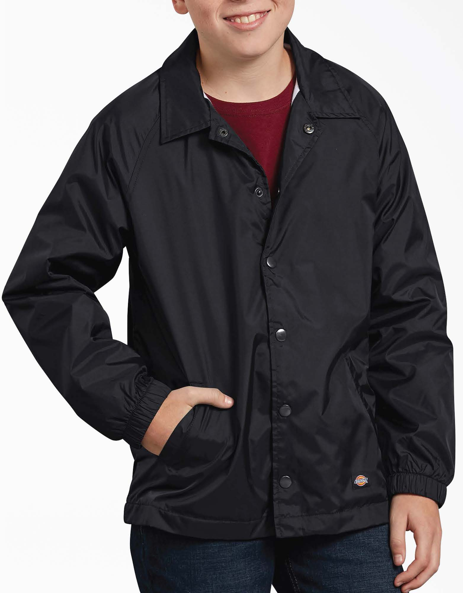 Kids' Snap Front Nylon Jacket - Black (BK)