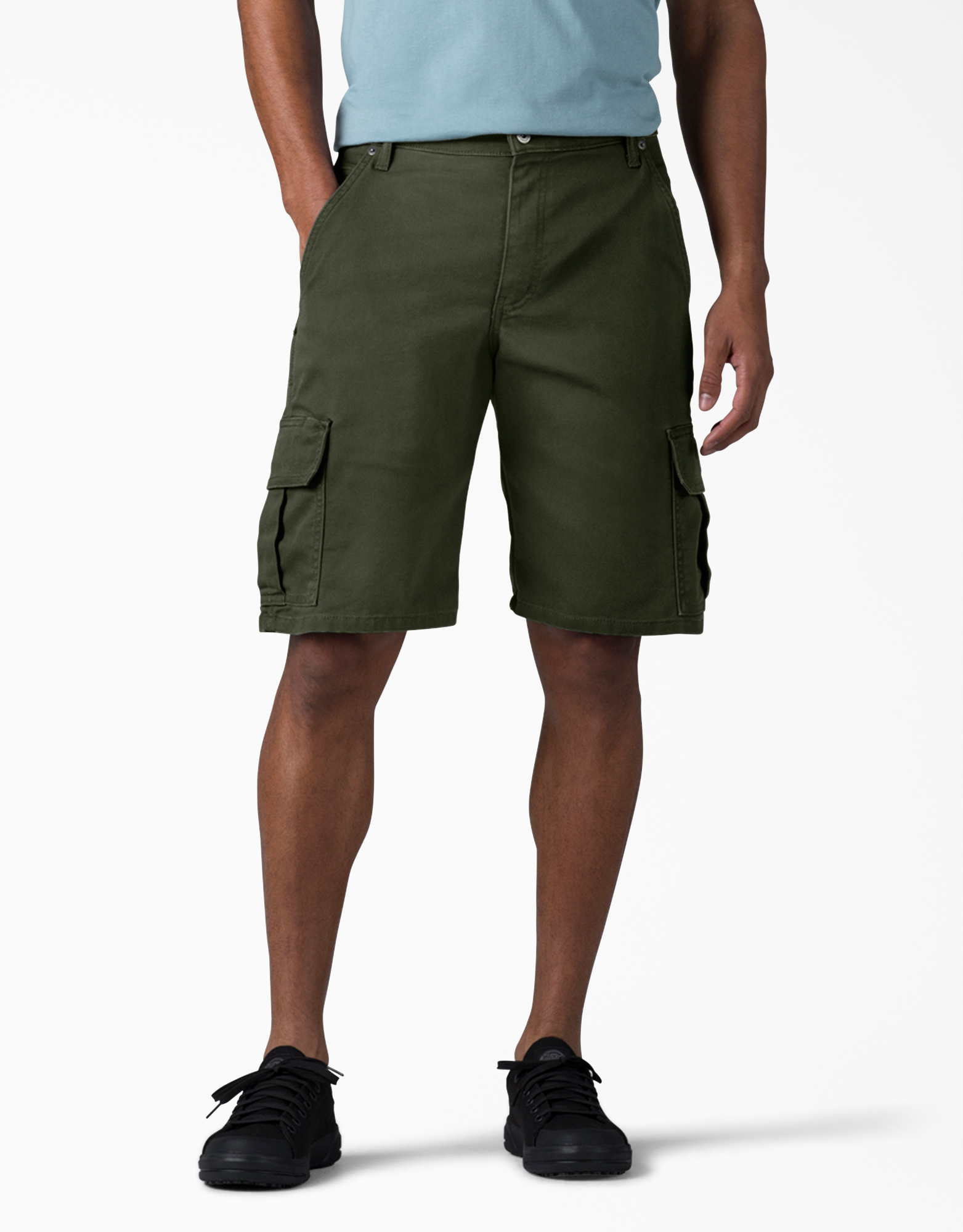 "11"" Relaxed Fit FLEX Tough Max™ Duck Cargo Shorts - Stonewashed Olive Green (SOG)"