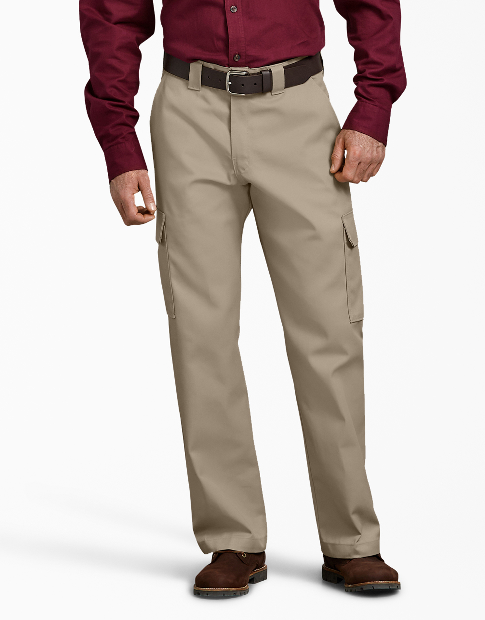 Relaxed Fit Straight Leg Cargo Work Pants - Desert Khaki (DS)