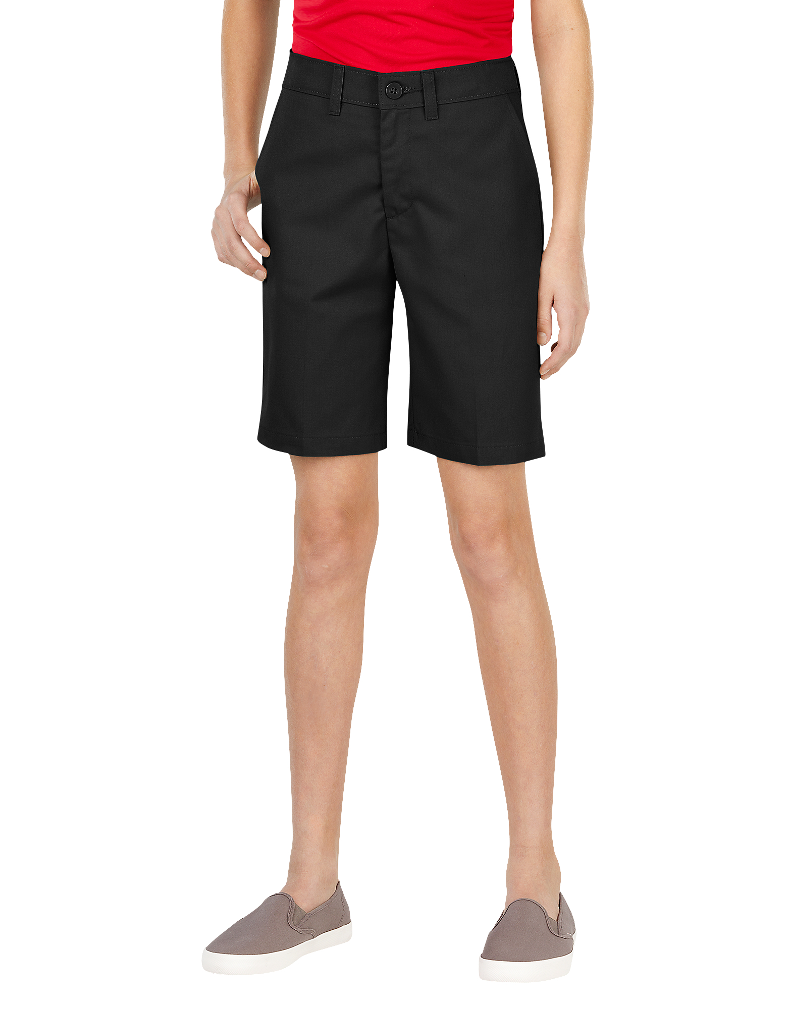 Girls' FlexWaist® Slim Fit Flat Front Shorts, 4-20 - Black (BK)
