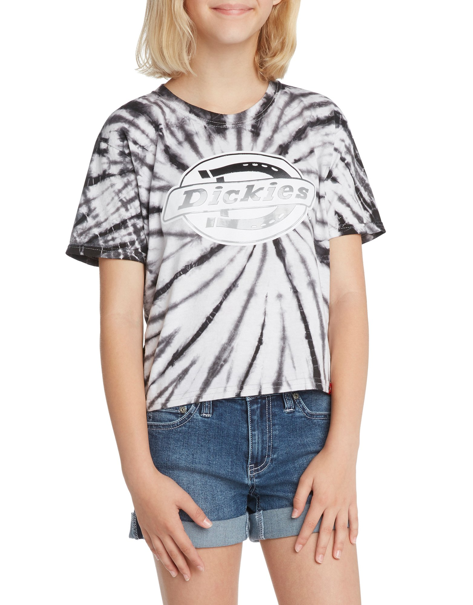 Girls' Short Sleeve Cropped Tie-Dye T-Shirt - Black/White (BKW)