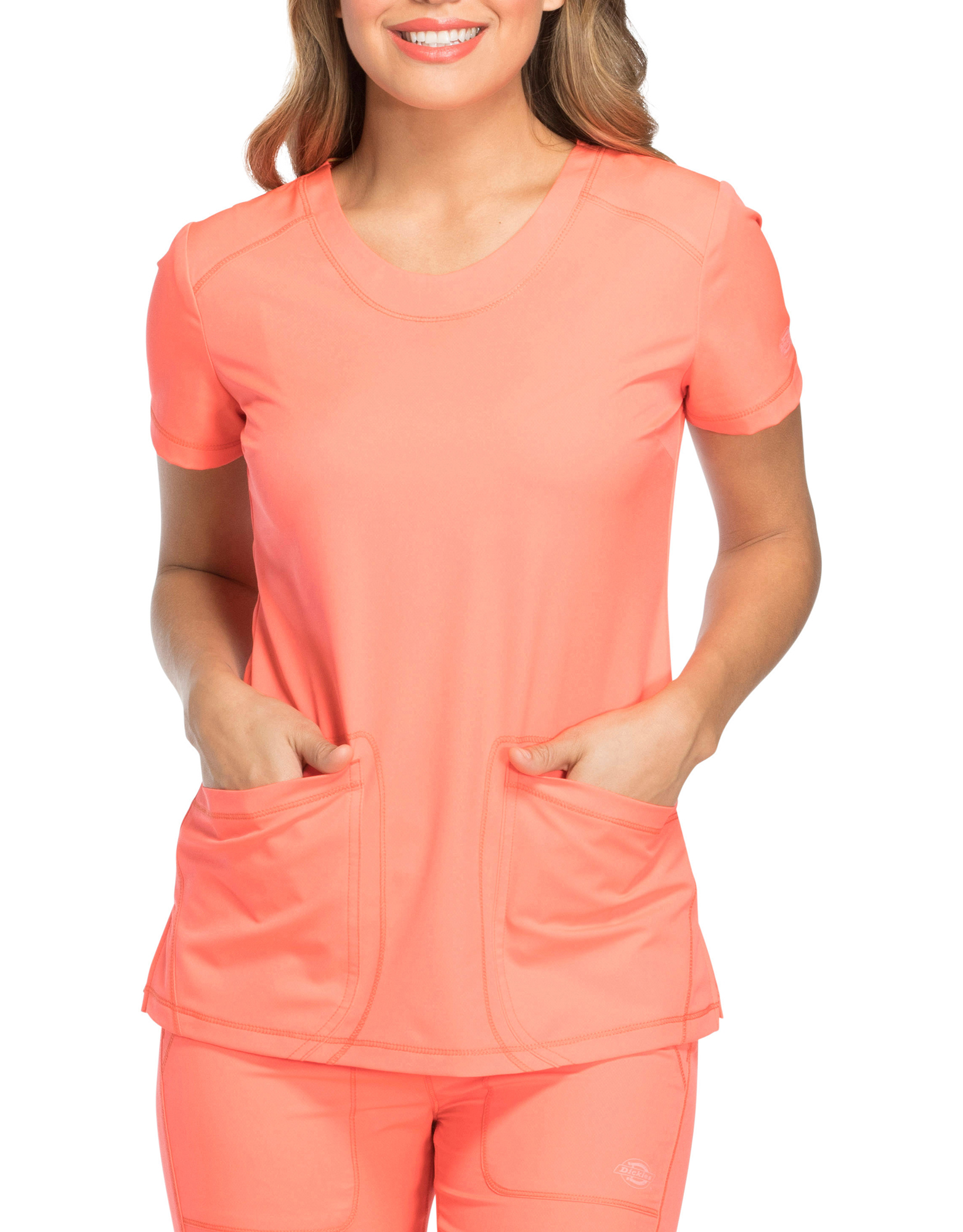 Women's Dynamix Rounded V-Neck Scrub Top - Coral Orange (VCL)