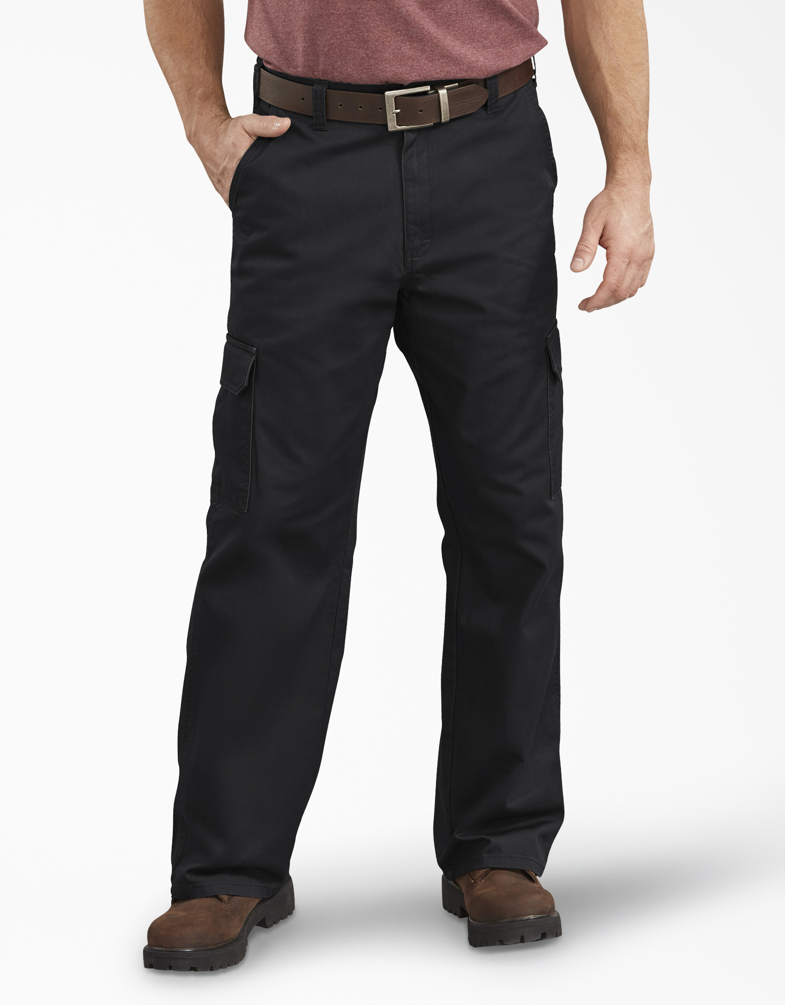 Loose Fit Straight Leg Cargo Pants - Rinsed Black (RBK)