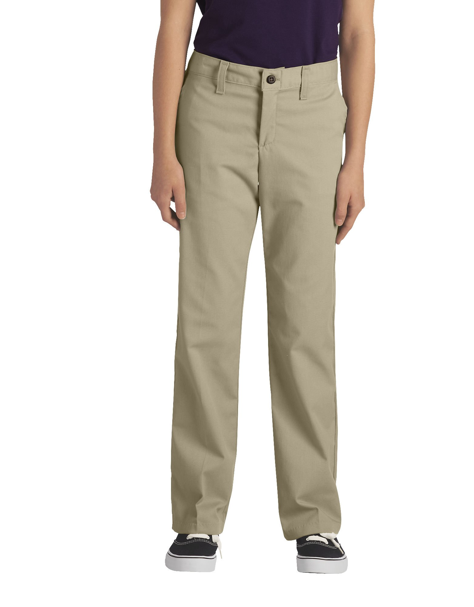 Girls' FlexWaist® Classic Fit Straight Leg Stretch Twill Pants, 4-20 - Desert Khaki (DS)